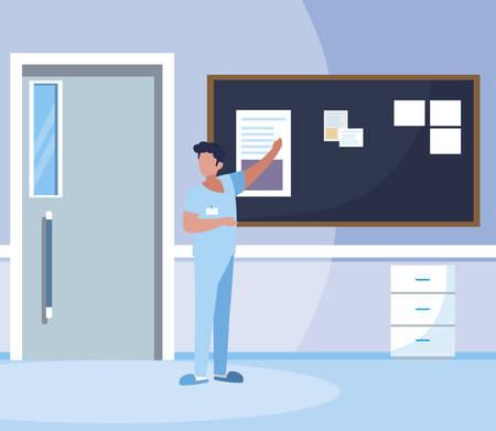 male medicine worker with uniform in hospital corridor vector illustration design
