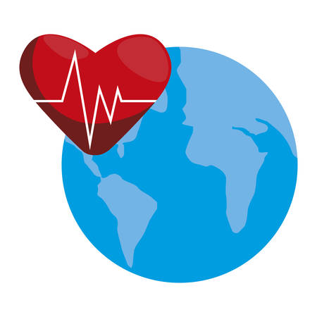 heart cardio with world planet earth vector illustration design