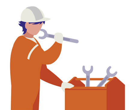 industrial worker with toolbox avatar character vector illustration design