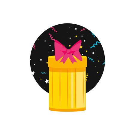 gift box present with frame circular vector illustration design