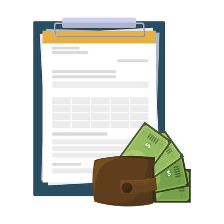 wallet with bills dollars and clipboard documents vector illustration design