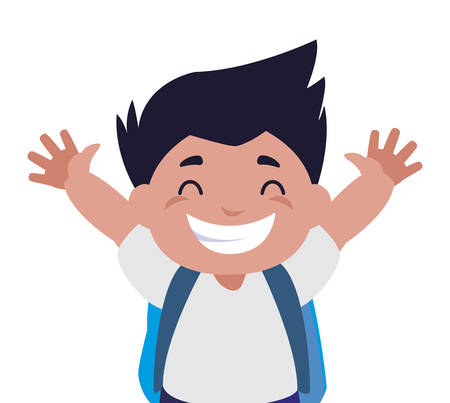 happy little schoolboy with schoolbag character vector illustration design
