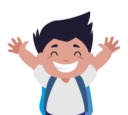 Pequeño colegial feliz con diseño de ilustración de vector de personaje de mochila