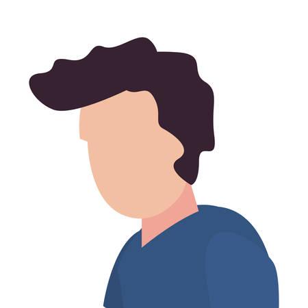 man character portrait on white background vector illustration Çizim