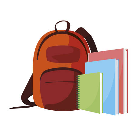 school bag with text books vector illustration design Ilustração