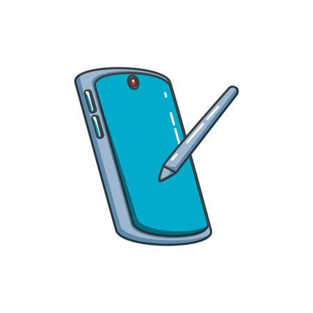 smartphone device with pen vector illustration design Ilustrace