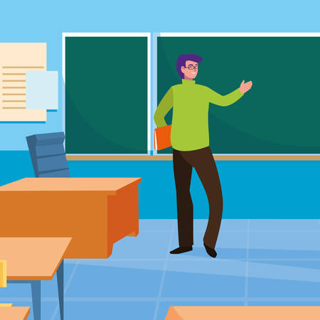 teacher man with classroom and chalkboard vector illustration design