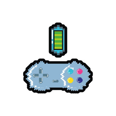 video game control with battery pixelated vector illustration design