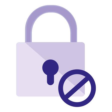 safe secure padlock with denied symbol vector illustration design