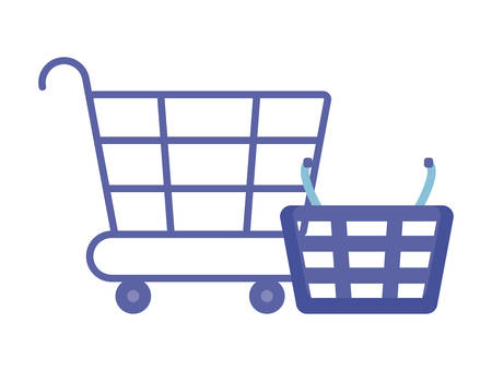 cart and basket of shopping isolated icon vector illustration design