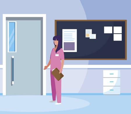 female medicine worker with uniform in hospital corridor vector illustration design