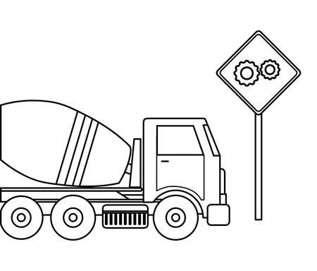 Camión de transporte de hormigón en construcción con diseño de ilustraciones vectoriales de señalización Ilustración de vector