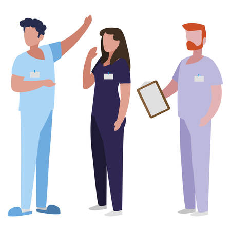 group medicine workers with uniform characters vector illustration design