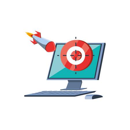 desktop computer with target and rocket vector illustration design