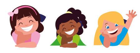 happy little interracial girls characters vector illustration design