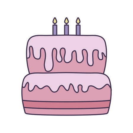 sweet cake of birthday isolated icon vector illustration design Illustration