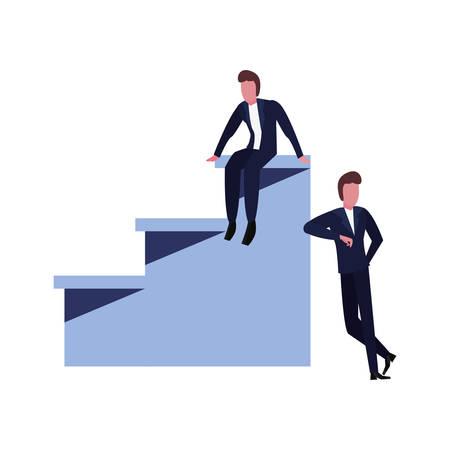 businessmen team top stairs success vector illustration 일러스트