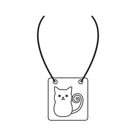 necklace with cat icon over white background, vector illus