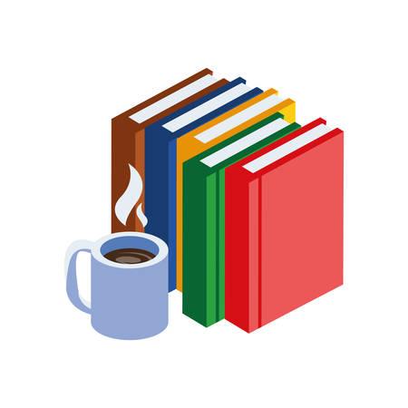 Pila de libros de texto con taza de café, diseño de ilustraciones vectoriales Ilustración de vector