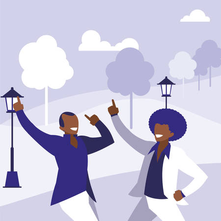 black dancers couple in the park vector illustration design