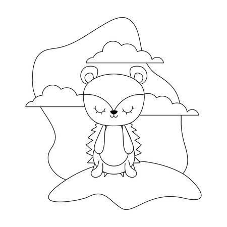 cute porcupine animal in landscape scene vector illustration design