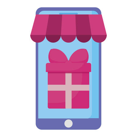 smartphone with parasol and gift vector illustration design Illustration