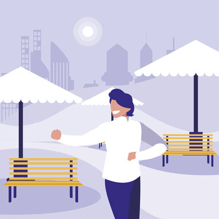 young dancer disco style in the park vector illustration design Stock Illustratie