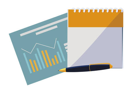 calendar reminder with documents and pen vector illustration design