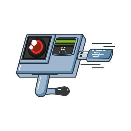 retina reader machine with usb vector illustration design