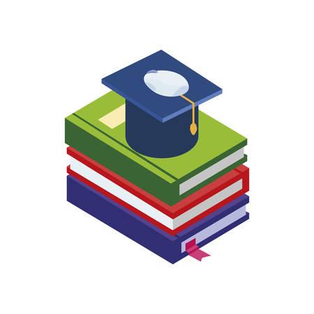 text books with graduation hat vector illustration design Ilustracja