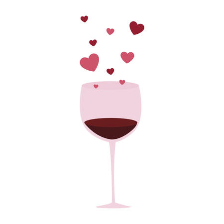 wine cup with hearts love vector illustration design
