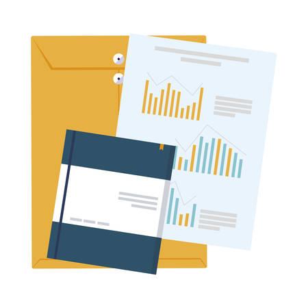 manila envelope with statistics documents vector illustration design