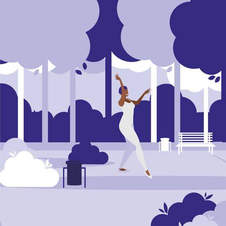young black woman dancing in the park character vector illustration design Banco de Imagens - 121974507