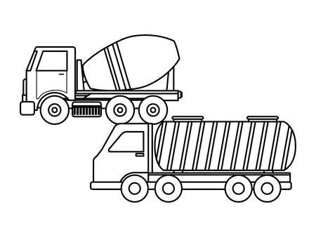 under construction concrete truck with tanker truck vector illustration design