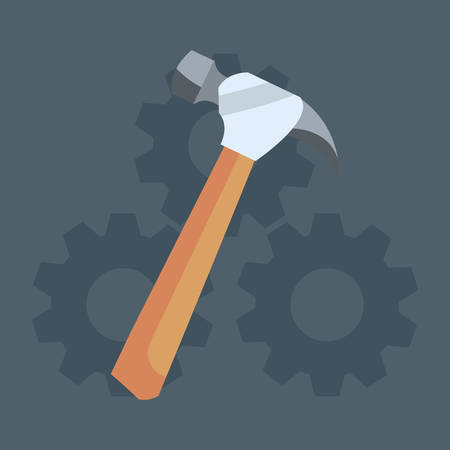 hammer gears icon tool vector illustration design