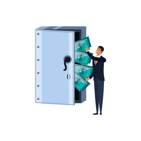 young businessman with safe box door and dollars vector illustration design