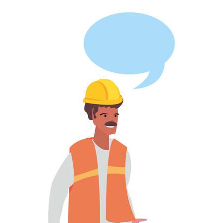 builder speech bubble labour day vector illustration