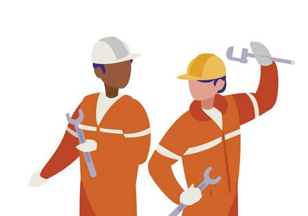 couple of men builders working vector illustration design Stockfoto - 122528736
