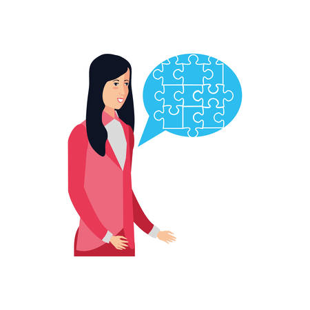 businesswoman with puzzle pieces in shape speech bubble vector illustration design