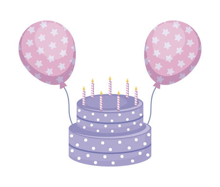 sweet cake with candles and balloons helium vector illustration design Stockfoto - 122532510
