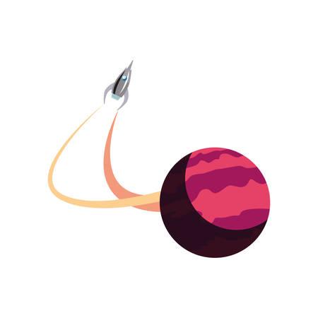Lanzamiento de la nave espacial Planet Explore, diseño de ilustraciones vectoriales