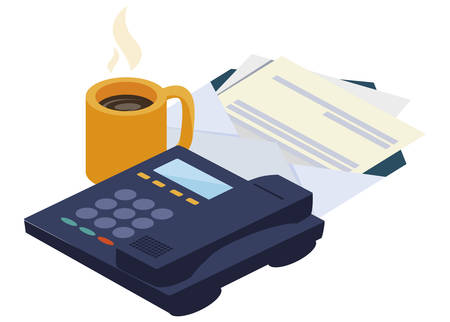 digital telephone office with coffee cup vector illustration design