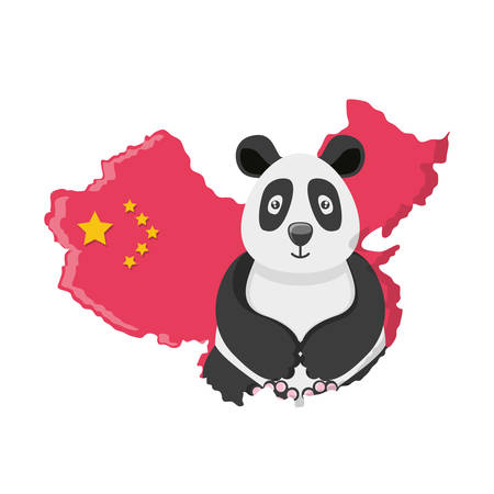 bear panda with map chinese vector illustration design Standard-Bild - 122532598