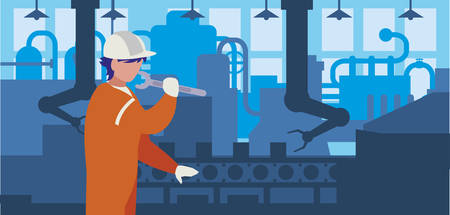 worker in factory workplace vector illustration design Illustration