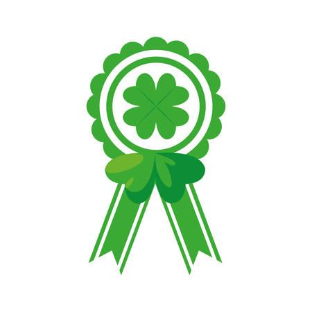 medal with clover leaf saint patricks day vector illustration design