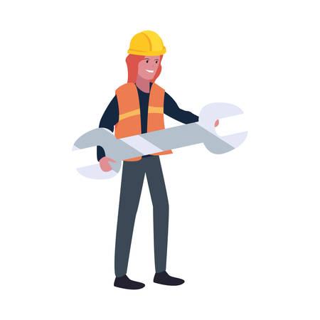 construction worker female wrench vector illustration design Vettoriali