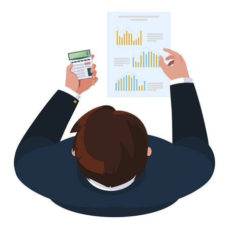 businessman with calculator math and documents vector illustration design Ilustração