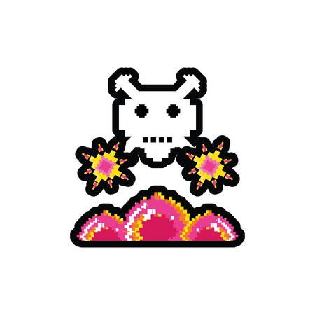 video game danger skull pixelated vector illustration design Illustration