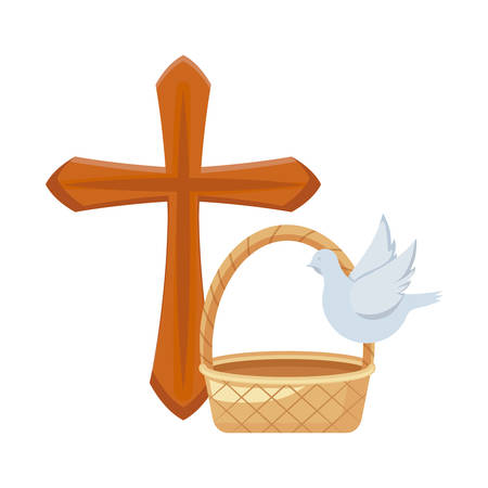 cross catholic with cute dove and wicker basket vector illustration design