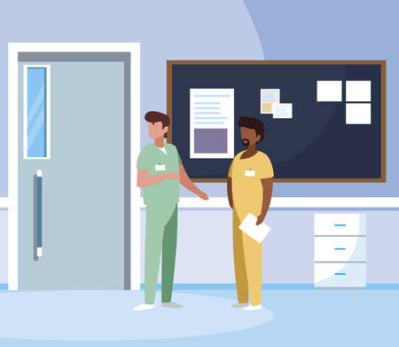 interracial male medicine workers in hospital corridor vector illustration design Stock Illustratie